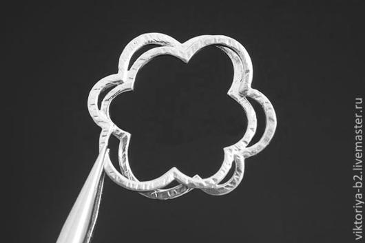 Для украшений ручной работы. Ярмарка Мастеров - ручная работа. Купить Коннектор Цветок, 24 мм, родиевое покрытие. Южная Корея.. Handmade.