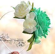 """Украшения ручной работы. Ярмарка Мастеров - ручная работа Ободок для волос с розами """"Бирюза и нежность"""". Handmade."""