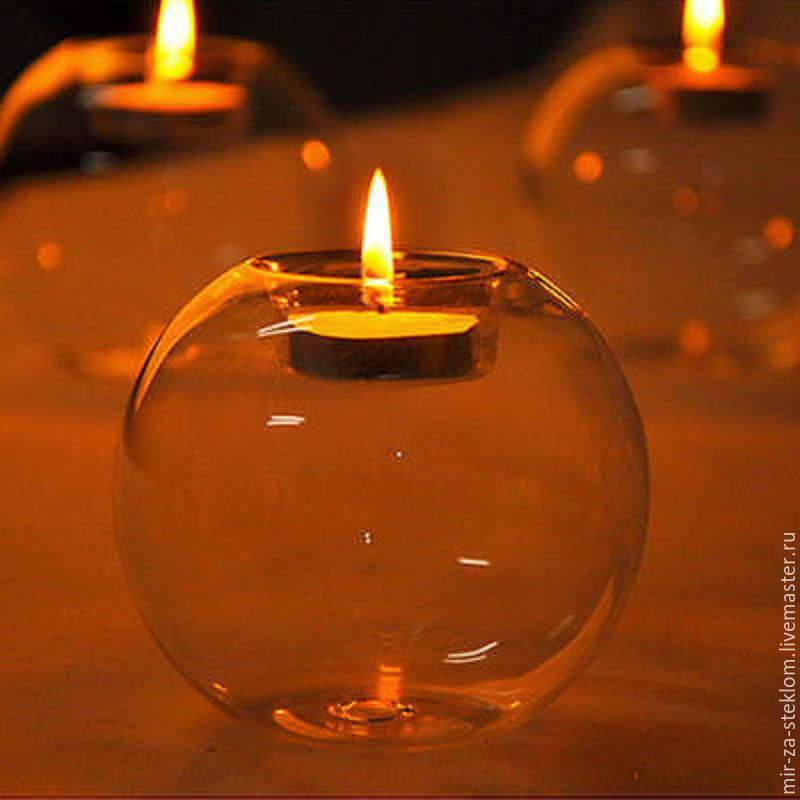 Шар-подсвечник d8 см стеклянный  для декора, Флорариумы, Москва,  Фото №1