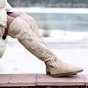 """Обувь ручной работы. Ярмарка Мастеров - ручная работа Ботфорты """"Песчаник"""". Handmade."""