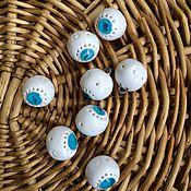Украшения ручной работы. Ярмарка Мастеров - ручная работа Пуговки-кулончики бело-бирюзовые. Handmade.