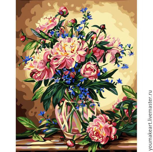 """Картины цветов ручной работы. Ярмарка Мастеров - ручная работа. Купить Картина по номерам """"Пышный букет"""". Handmade. Коричневый"""