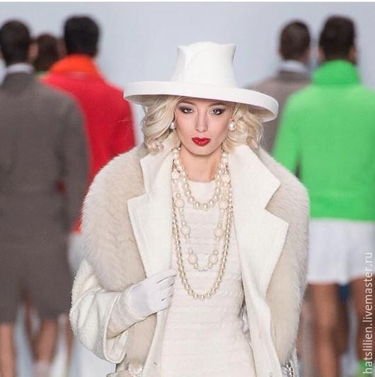 Шляпы ручной работы. Ярмарка Мастеров - ручная работа. Купить Велюровая шляпка с большими полями, белая. Handmade. Белый, велюр