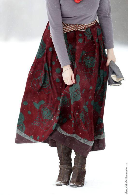 """Юбки ручной работы. Ярмарка Мастеров - ручная работа. Купить Длинная теплая юбка """"Версаль"""". Handmade. Бордовый, нарядная юбка"""