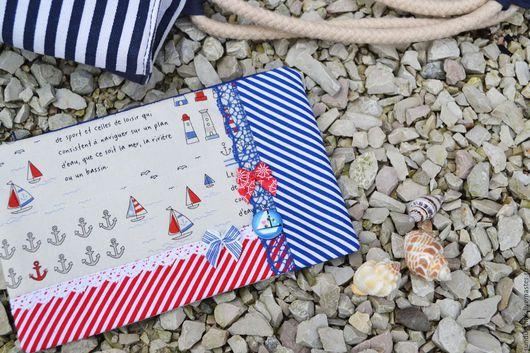 Сумки и аксессуары ручной работы. Ярмарка Мастеров - ручная работа. Купить Сумка-косметичка из ткани в морском  стиле, подарок женщине. Handmade.