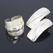 Украшения handmade. Livemaster - original item The ring and earrings an Arc of a series of Minima from the combined silver. Handmade.