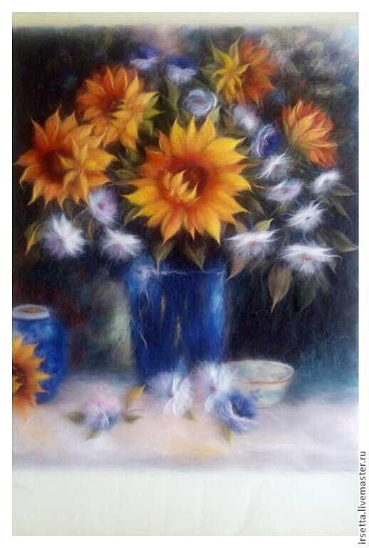 """Картины цветов ручной работы. Ярмарка Мастеров - ручная работа. Купить Картина из шерсти """"Подсолнухи"""". Handmade. Цветы, осень, подсолнухи"""