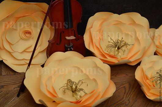 Свадебные цветы ручной работы. Ярмарка Мастеров - ручная работа. Купить Абрикосовое настроение. Handmade. Бежевый, бумажные цветы