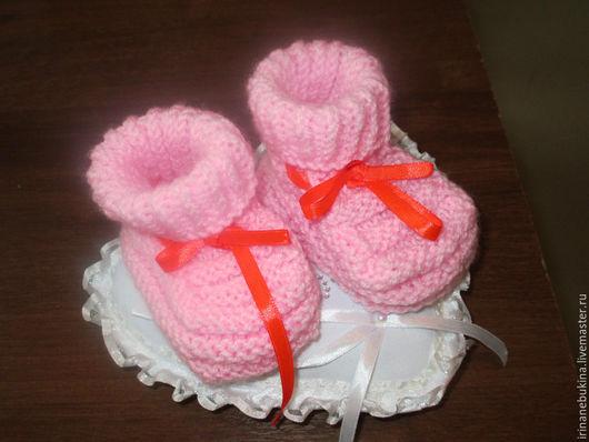 Для новорожденных, ручной работы. Ярмарка Мастеров - ручная работа. Купить пинетки. Handmade. Розовый, пинетки для новорожденных, пинетки