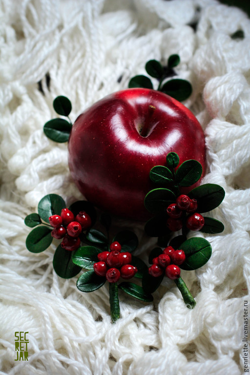 Brooches handmade. Livemaster - handmade. Buy Brooch ''a Sprig of cranberries''.Brooch, cranberries