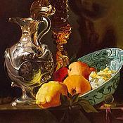 Картины и панно ручной работы. Ярмарка Мастеров - ручная работа картина - Натюрморт с серебряным кувшином и фруктами. Handmade.