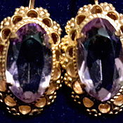 Винтаж handmade. Livemaster - original item Earrings 1960s pink tourmaline,gold plated,vintage USSR, new,brand.. Handmade.