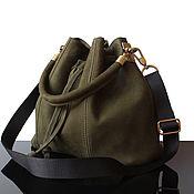 Сумки и аксессуары handmade. Livemaster - original item Olive suede shoulder Bag with black strap. Handmade.