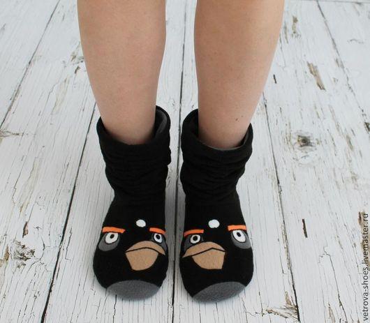 """Обувь ручной работы. Ярмарка Мастеров - ручная работа. Купить Домашние сапожки """"Angry birds"""". Handmade. Черный, ангри бердс"""