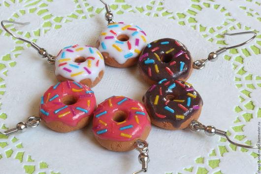 Серьги ручной работы. Ярмарка Мастеров - ручная работа. Купить Серьги-пончики в ассортименте. Handmade. Серьги, серьги полимерная глина