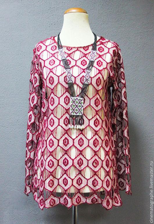 Одежда. Ярмарка Мастеров - ручная работа. Купить Кофта 70-е годы бохо. Handmade. Бордовый, Винтажная кофта, полестер