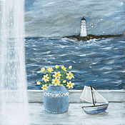 Картины и панно ручной работы. Ярмарка Мастеров - ручная работа Окно в море. Handmade.