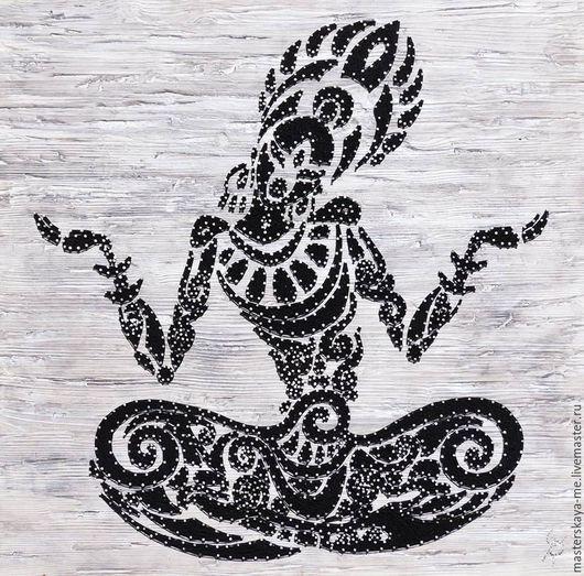 Картина из гвоздей и нитей в технике string art   Meditation Размер 100х100 см #stringart  #подарок  #дизайинтерьера