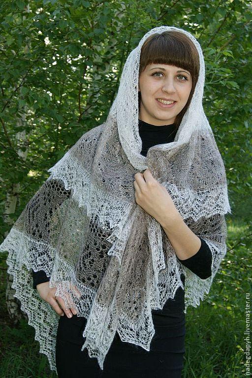 Shawls & Stoles handmade. Livemaster - handmade. Buy 39 downy gossamer two-tone shawl, Orenburg shawl.White