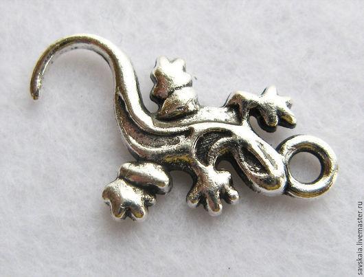 Подвеска ящерица, цвет античное серебро, 22.0мм x 12.0мм