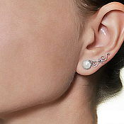 Украшения ручной работы. Ярмарка Мастеров - ручная работа Серьги вдоль мочки уха «Страдивари» с натуральными камнями. Handmade.