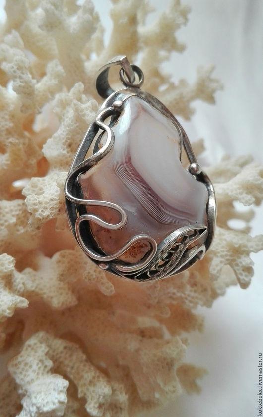 Кулоны, подвески ручной работы. Ярмарка Мастеров - ручная работа. Купить Агат кулон натуральный в серебре (62). Handmade. Комбинированный