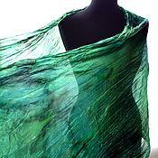 Аксессуары handmade. Livemaster - original item Scarf stole green emerald with black pressed silk. Handmade.