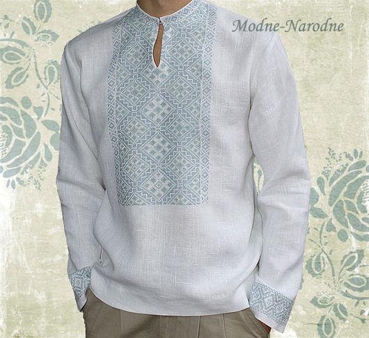 Льняная сорочка с ручной вышивкой Ясень 2. \r\nМодная одежда с ручной вышивкой. \r\nТворческое ателье Modne-Narodne.