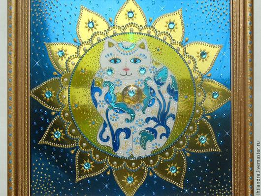 Животные ручной работы. Ярмарка Мастеров - ручная работа. Купить Кот с далёкой Звезды Панно с витражной росписью на диске. Handmade.