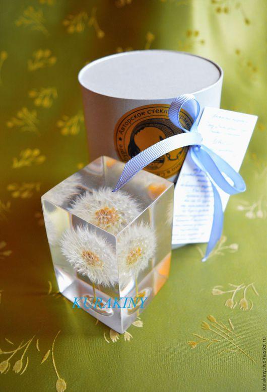 Персональные подарки ручной работы. Ярмарка Мастеров - ручная работа. Купить Куб малый 6 см -Одуванчик. Handmade. Белый