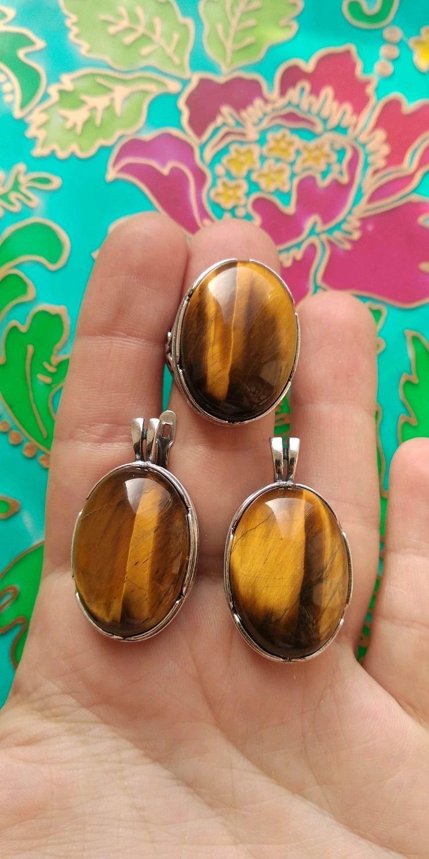 543 Крупные серьги и кольцо с натуральными камнями, серебрение, Комплекты украшений, Иваново, Фото №1