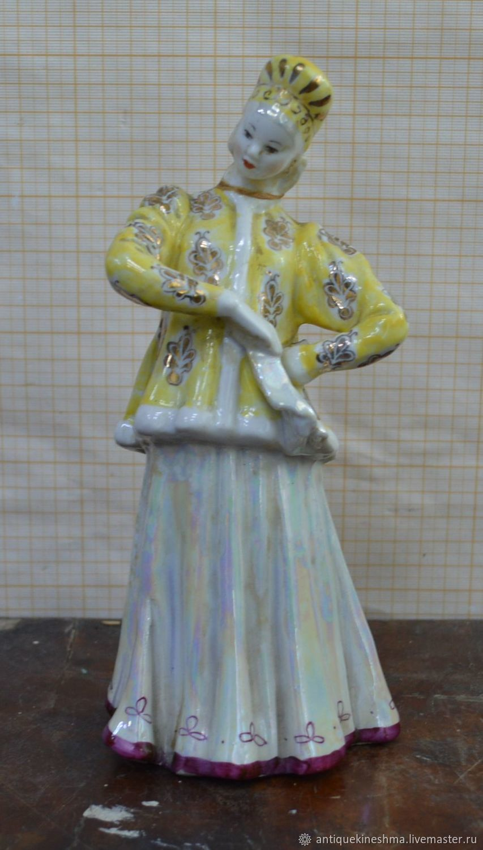 Statuette figure sculpture of the USSR Dancer Dulevo, Vintage interior, Kineshma,  Фото №1