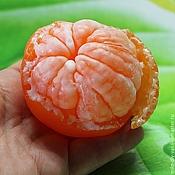 Мыло Мандарин очищенный на половину 3D. сувенирное мыло ручной работы