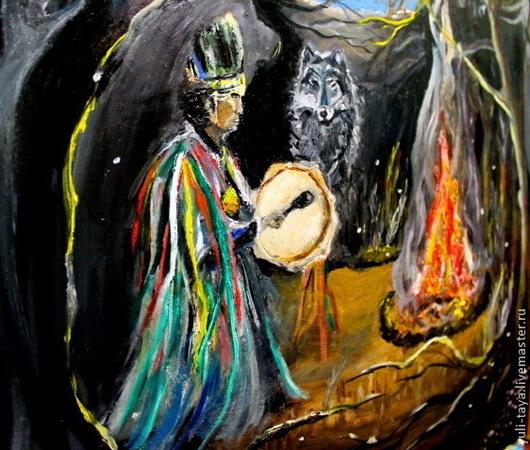 Этно ручной работы. Ярмарка Мастеров - ручная работа. Купить картина маслом ШАМАН. Handmade. Картина для интерьера, бубен
