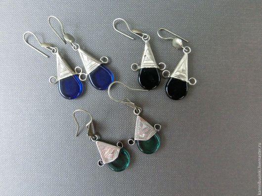 Серьги `Туареги` серебро с агатом, африканские украшения, этно стиль, серебро, агат - ручная работа Kamnibusinki.