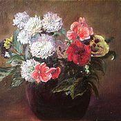 Картины и панно handmade. Livemaster - original item Oil painting Flowers in a clay vase. canvas oil. Handmade.