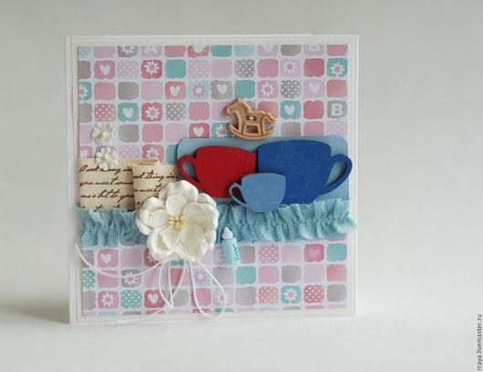 Детские открытки ручной работы. Ярмарка Мастеров - ручная работа. Купить Открытка на рождение ребенка - мальчик. Handmade.