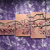 """Картины ручной работы. Ярмарка Мастеров - ручная работа Модульная картина маслом """"Сакура"""". Handmade."""