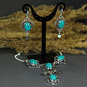 Jewelry Sets handmade. Livemaster - original item Gorgeous set with turquoise Turkmenistan and Labrador