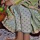 Куклы Тильды ручной работы. Яблочная зайка. Елена (elenadollworld). Ярмарка Мастеров. Зеленый, изумрудный, яблочный заяц, атласные розы