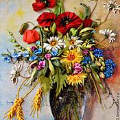 """Картины и панно ручной работы. Ярмарка Мастеров - ручная работа Картина вышитая лентами """"Подарок лета"""". Handmade."""