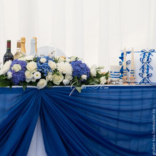 Свадебные цветы ручной работы. Ярмарка Мастеров - ручная работа. Купить Композиция на президиум из синих гортензий. Handmade. Синий
