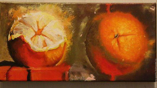 Натюрморт ручной работы. Ярмарка Мастеров - ручная работа. Купить Картина маслом Апельсины самый сок! 20х40см. Handmade. Оранжевый