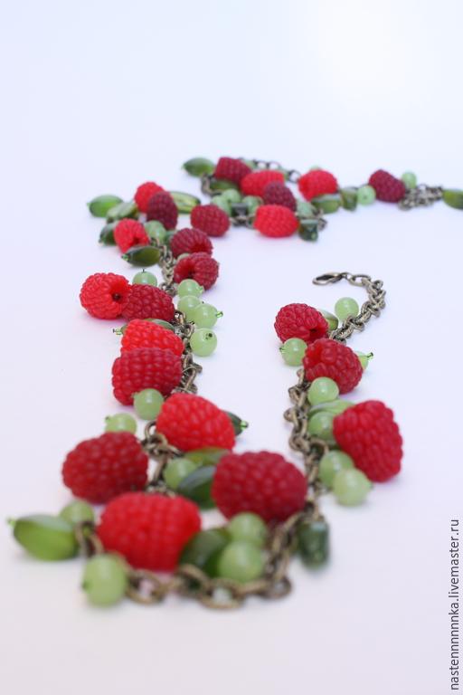 """Колье, бусы ручной работы. Ярмарка Мастеров - ручная работа. Купить Бусы """"Малиновый метр"""". Handmade. Бордовый, ягоды"""