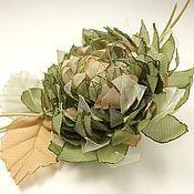 Украшения handmade. Livemaster - original item Windy Oliva. Brooch - handmade flower made of fabric. Handmade.