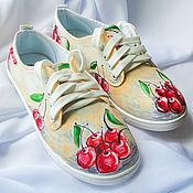 """Обувь ручной работы. Ярмарка Мастеров - ручная работа Кеды женские  """"Вишенка"""", кеды с рисунком, роспись кед.. Handmade."""