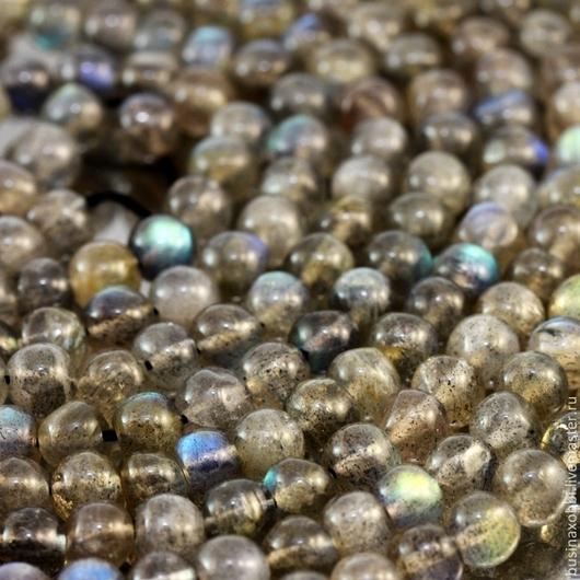 Бусины из натурального камня лабрадор формы шар диаметром около 5 мм нитками длиной 35 см для использования в сборке украшений