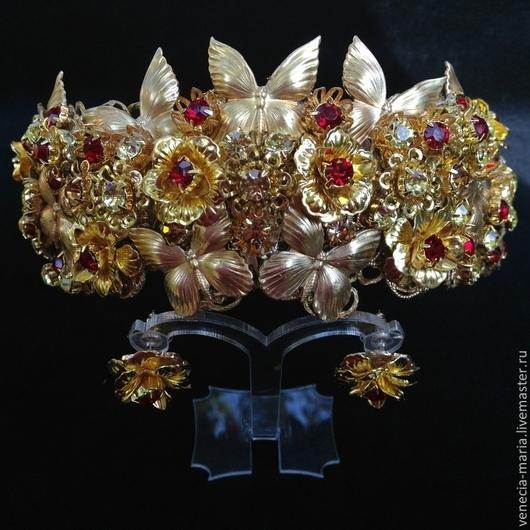 Диадемы, обручи ручной работы. Ярмарка Мастеров - ручная работа. Купить Корона Мэри и Серьги в стиле дольче. Handmade. Золотой