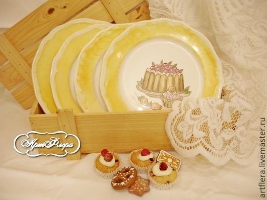 """Тарелки ручной работы. Ярмарка Мастеров - ручная работа. Купить Набор десертных тарелок """"Ваниль"""". Handmade. Желтый, тарелки на стену"""