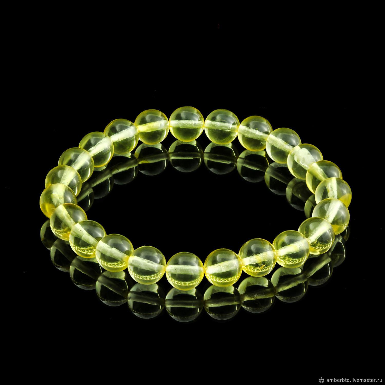 Bracelet 16 cm lemon (8 mm) with elastic band, Bead bracelet, Kaliningrad,  Фото №1